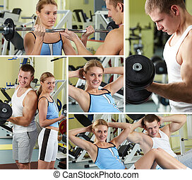 Sporty people - Collage of sporty people in gym