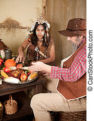 Thanksgiving indian - Reenactment scene of the first...