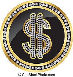 Dollar golden icon with diamonds