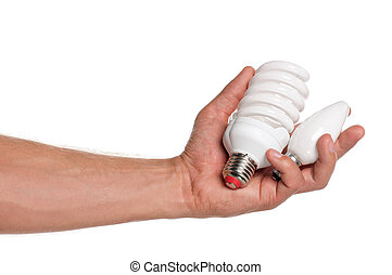 Man hand - Man holding an two light bulbs isolated on white...