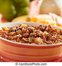 bowl of chili with beans and beef