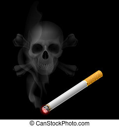 Cigarette and Skull shaped smoke - Human scull appears in...