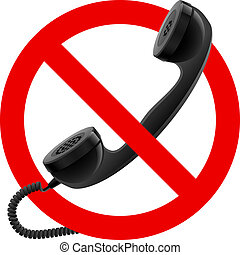 No handset allowed sign.  Illustration on white background