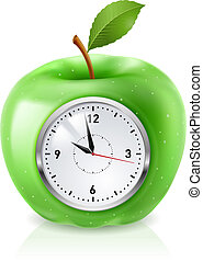 Green apple clock - Realistic green apple clock Illustration...