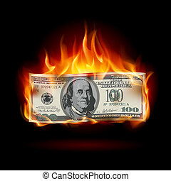 Burning dollar on a black background for design
