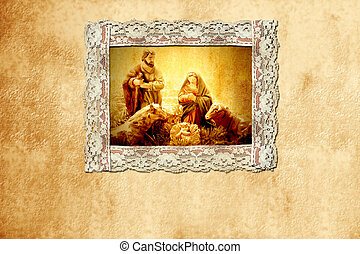 old Christmas card, holy family and writing space