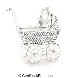 Doll stroller - Pencil drawing of an antique doll stroller