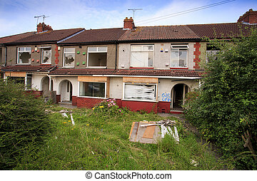 Houses ready to be demolished, in Bristol, UK
