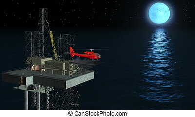Oil platform helicopter in action - Oil platform helicopter...