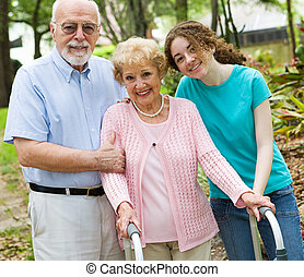 Happy Grandparents - Happy grandparents enjoying time with...