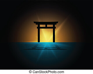 Japan Torii gate - abstract Silhouette of japan gate on the...