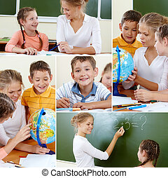 School studies - Collage of cute classmates and teacher at...