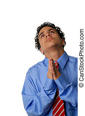 Praying for help - Young business man praying for help and...