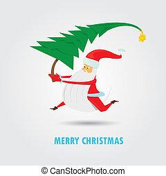 Vector Santa Claus with christmas tree.