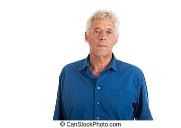Elderly man - elderly man in studio isolated over white...