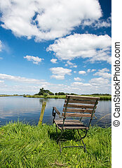 Dutch river the Eem - Landscape with Dutch river the Eem and...