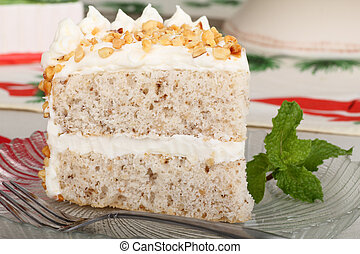 Layer Cake Slice - Slice of layer cake on a glass plate