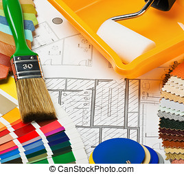 Paints, brushes and accessories for repair to architectural...