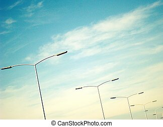 Street lights in a row