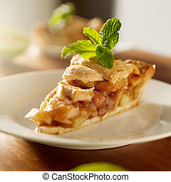 apple pie with mint garnish