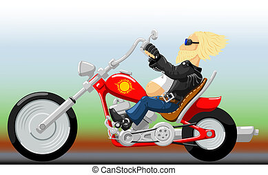 Biker on Motorcycle - Blonde adult man drives the red...
