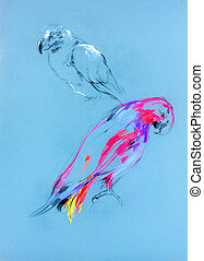 Sketch of a parrot - Original pastel and hand drawn painting...