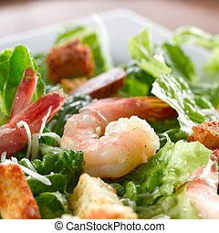 camarón, espinaca, ensalada