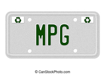 MPG Car License Plate - The word MPG on a gray license plate...