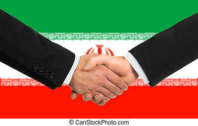 The Iranian flag and business handshake