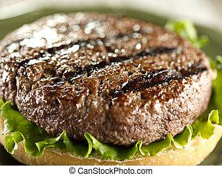juicey hamburger patty closeup