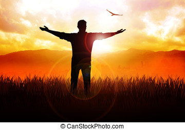 Freedom - Silhouette illustration of a man standing on grass...