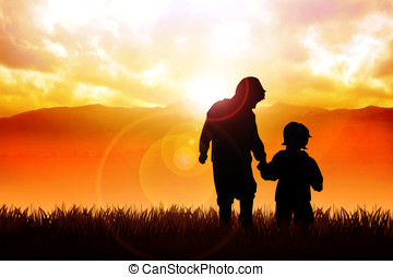 Children - Silhouette illustration of two kids walking in...