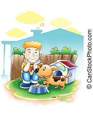 Boy and Dog - Cartoon illustration of a boy with his dog