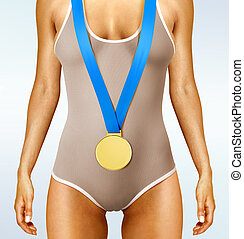 body with gold medal - Part of beautiful woman body wearing...