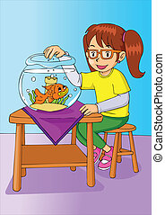 Girl With Goldfish