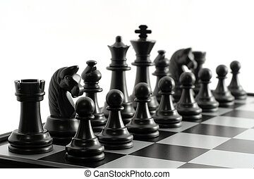 Chess - Black chessmen on a chessboard