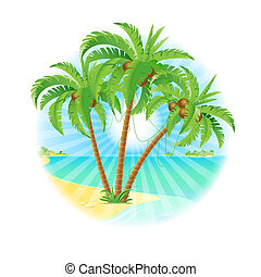 Coconut palm trees on a island with sun Illustration on...