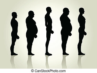 Male Body Type - Silhouette illustration of men figure from...