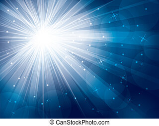 light rays with stars and snow on blue background