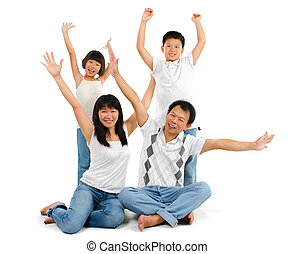 Asian family arms up - Happy Asian family arms up over white...