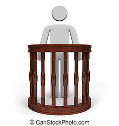 Witness Stand And Person Front View. 3D render illustration....