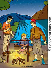 Camping - Illustration of men camping