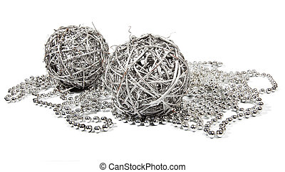 Two wicker balls and silver beads