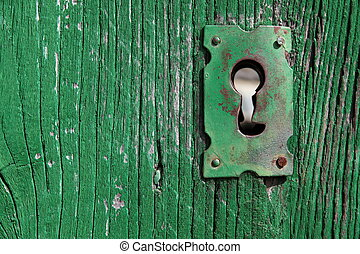 Old Keyhole - an old wood door with metal lock and keyhole