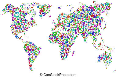 Coloured World Map - World map in a mosaic of harlequin...