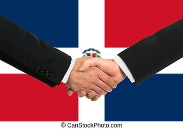 The Dominican Republic flag and business handshake
