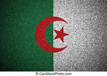 The Algerian flag painted on a cork board.