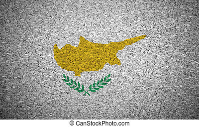 The Cypriot flag painted on a cork board.