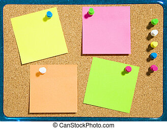 stickies - bulletin board and multi colored stickies...