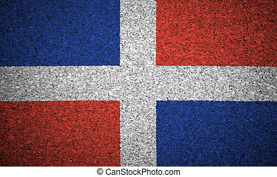 The Dominican Republic flag painted on a cork board